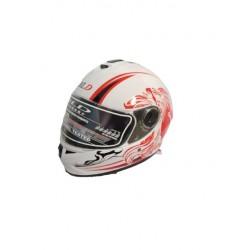 Bld 918 Boyunluklu Beyaz-Kırmızı Motosiklet Kask ( L Beden )